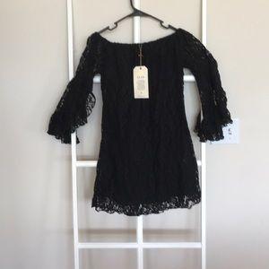Elan black lace off the shoulder dress small